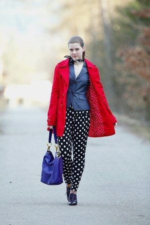 red Terranova coat - purple Deichmann shoes - blue denim Orsay blazer