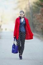 red Terranova coat - purple Deichmann shoes - blue denim Orsay blazer