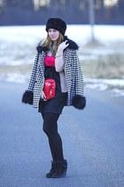 New Yorker hat - New Yorker dress - houndstooth Ann Christine coat - Eva Tom bag