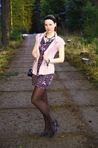leopard print Ann Christine dress - brown Orsay tights - black playboy purse - b