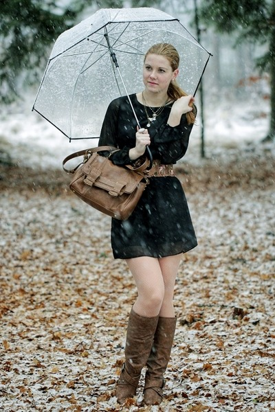 Zara bag - CCC boots - F&F dress - umbrella Zara accessories