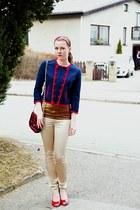 navy H&M blazer - gold dark Promod shirt - plaid Tally Weijl purse - gold Jannis