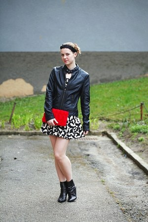 black Bata boots - black and white H&M dress - black leather Pimkie jacket - red