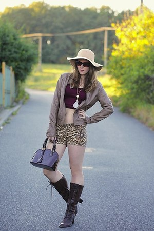 leather Pimkie jacket - shoes - Bershka hat - Louis Vuitton bag