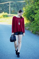 H&M cardigan - F&F shoes - lindex bag - leather New Yorker shorts