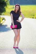 hot pink F&F purse - Topshop romper - hot pink New Yorker flats