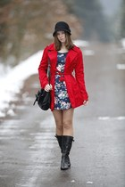 black Deichmann boots - navy floral Zara dress - red Terranova coat - black New