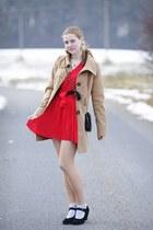 CCC shoes - red New Yorker dress - Tally Weijl coat - Tally Weijl bag