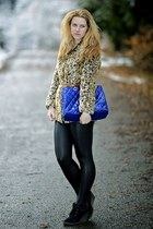 Choies coat - Stradivarius leggings - Domi bag