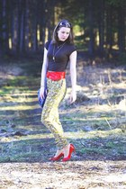 navy Avon purse - gold New Yorker sunglasses - floral Zara pants - red New Yorke