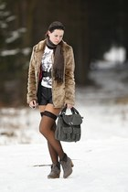 gray c&a bag - heather gray c&a boots - camel faux fur Tally Weijl coat