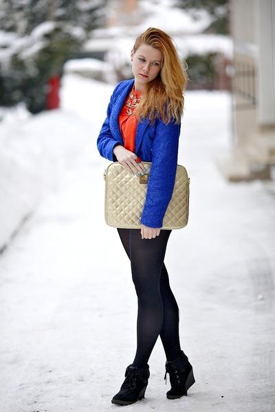 blue Jannis blazer - carrot orange H&M shirt - tan Bershka bag