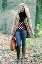 CCC boots - Tally Weijl coat - OASAP bag - Forever 21 blouse