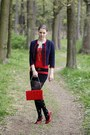 Navy-h-m-blazer-red-f-f-shirt-black-tally-weijl-tights-red-h-m-purse-red