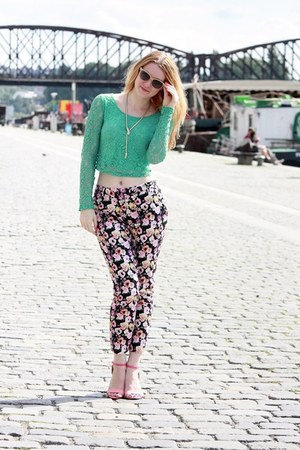 turquoise blue inlovewithfashion top - H&M pants