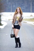 Tally Weijl bag - deichman boots - Pimkie blazer - New Yorker shorts