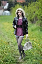 charcoal gray reno boots - black with fur jacket - pink New Yorker shirt - reser