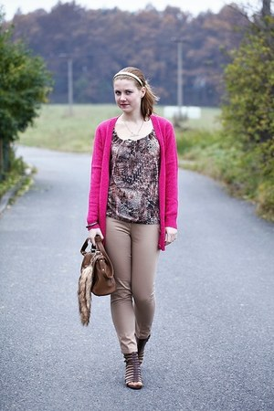 humanic sandals - Zara bag - H&amp;M cardigan - New Yorker blouse - Zara pants