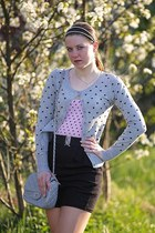 polka c&a dress - heather gray Chanel purse - with hearts reserved cardigan - he