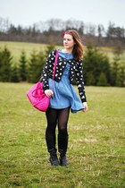 black Deichmann boots - denim H&M dress - black Orsay tights - hot pink CCC bag