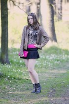 black Bata boots - camel leather Pimkie jacket - hot pink F&F purse - gold New Y