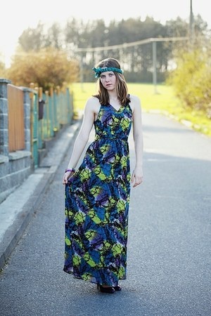 teal headband c&a accessories - purple New Yorker shoes - maxi H&M dress