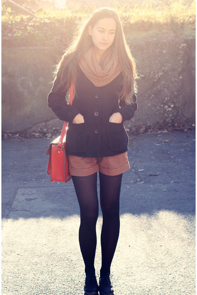 black oxfords dash44 shoes - black coat H&M coat - black tights H&M tights