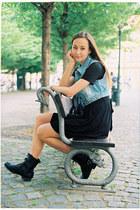 black New Yorker boots - black iwearsin-com dress - sky blue DIY vest