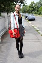 light blue Primark jacket - black Romwecom tights - ruby red Romwecom bag - blac