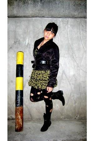 black studded Forever 21 boots - olive green corset Forever 21 dress - black Ame
