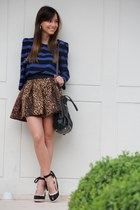 brown Zara skirt - black Prada bag - black Schutz wedges - navy Zara blouse