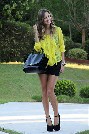 yellow BCBG blouse - black Celine bag - black Giuseppe Zanotti heels