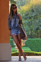 blue madewell shirt - brown Etro bag - blue abercrombie and fitch shorts