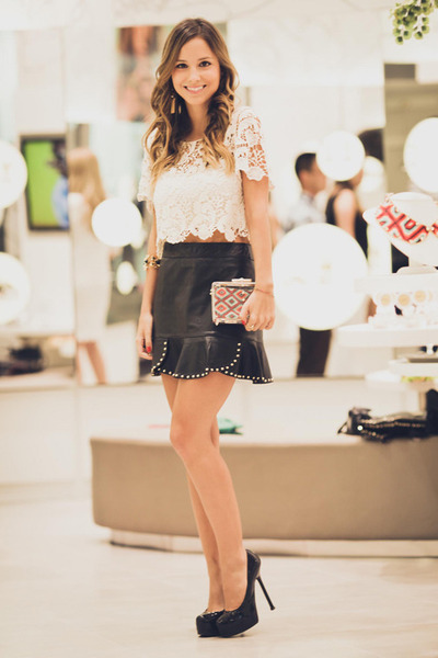 black Zara skirt - black YSL pumps