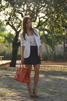 orange Hermes bag - white Acqua blazer - navy Michael Kors skirt