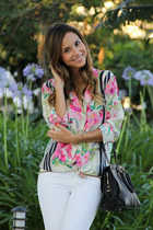 hot pink Elizabeth & James shirt - black Louboutin shoes - white Zara jeans