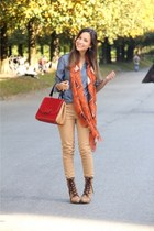 tawny Massimo Dutti scarf - blue Massimo Dutti shirt - red Fendi bag