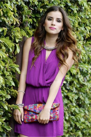 purple Mango dress - silver necklace