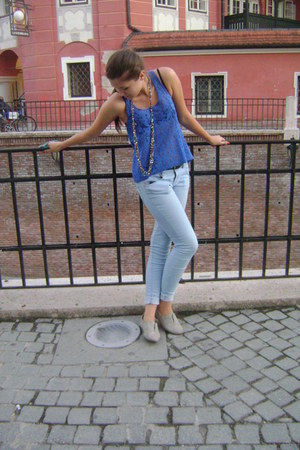 blue Forever 21 blouse - sky blue Bershka jeans - turquoise blue elle sunglasses