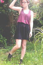 black high waisted h&m divided skirt - maroon suede h&m divided shoes