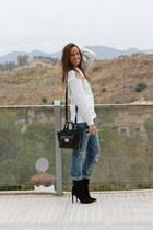 silver Kenzo sweatshirt - black Mango boots - blue Zara jeans