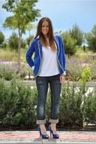 blue Miss Sixty jeans - blue Mango blazer - blue Mango heels