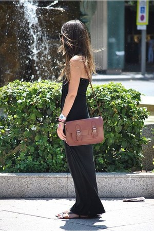 brown satchel bag bag - black Primark dress - black Zara sandals