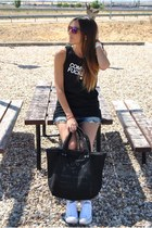 black Marc by Marc Jacobs bag - blue H&M shorts - black Ebay t-shirt