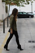 black Mango boots - olive green Mango shirt - Zara pants