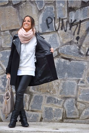 silver Kenzo sweatshirt - black Stradivarius boots - black Zara coat