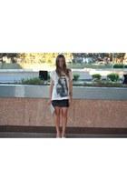 white Zara t-shirt - black Zara skirt - beige Zara heels
