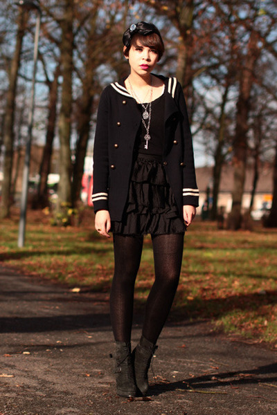 The Kooples boots - sailor Zara jacket - Topshop skirt - bow Sonia Rykiel for H&