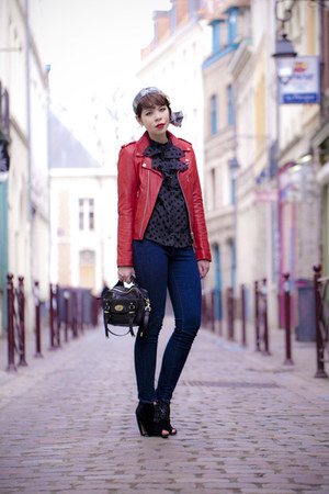 leather jacket Schott NYC jacket - Levis jeans - Mulberry bag - Miu Miu heels