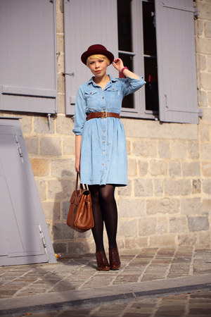 jean vintage dress - Urban Outfitters hat - Mulberry bag - Zara wedges
